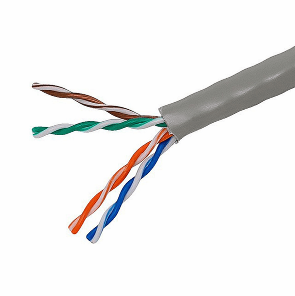 1000 Feet Colored Cat5e Solid UTP Network Cable (Bulk Box) - Gray