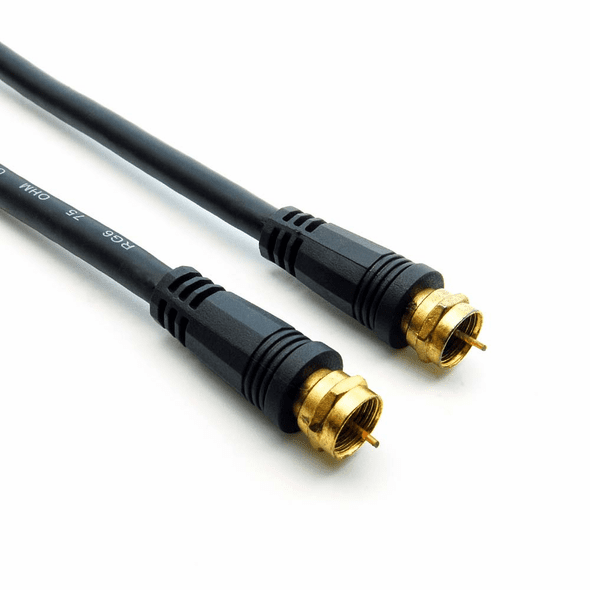 12 Foot RG6 Cable, F-Type Screw On, Gold Contact