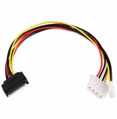 12 Inch SATA Power to Molex and Floppy 4 Pin Power Adapter
