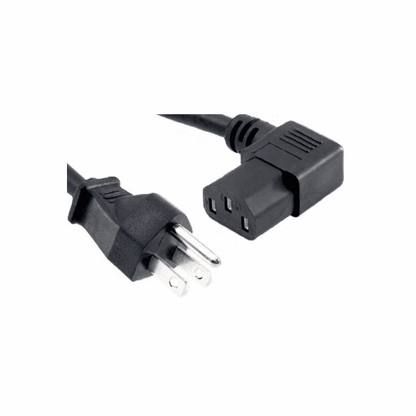 15 Foot 18AWG Right Angle Power Cord (C13 / 5-15P) - Black