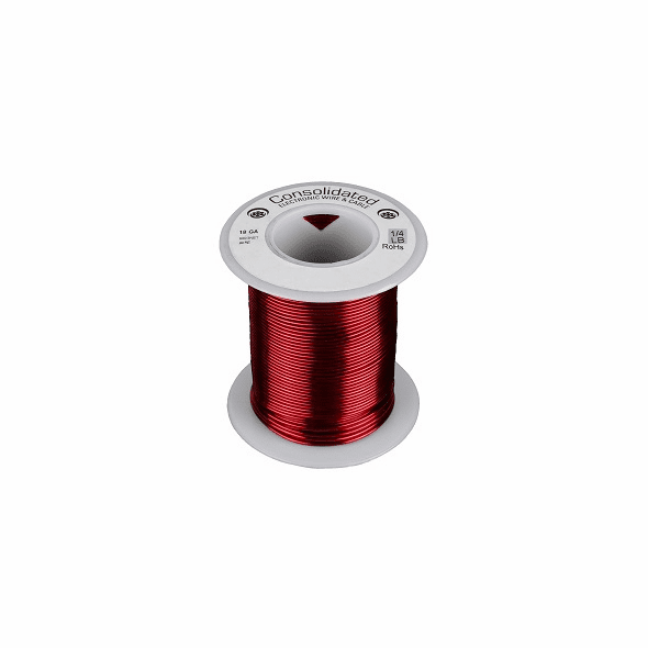 18 AWG Solid Enameled Bare Copper Magnet Wire - 1/4 lb Spool