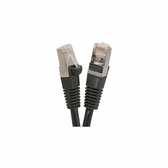 18 Inch CAT 5e Shielded ( STP) Ethernet Network Booted Cable -  Black - Ships from Vendor