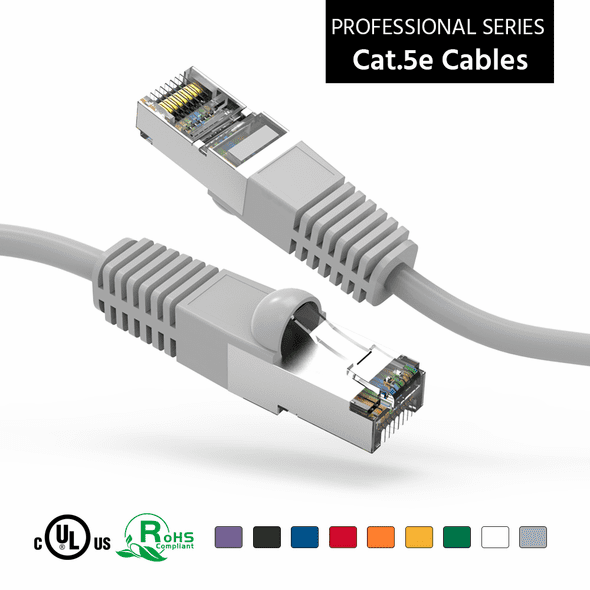 18 Inch CAT 5e Shielded ( STP) Ethernet Network Booted Cable -  Gray - Ships from Vendor