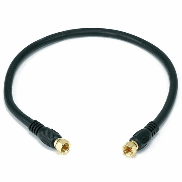 18 Inch Premium 18AWG RG6 CL2 (In-Wall) Quad Shield Gold Plated Coax Cable - Black