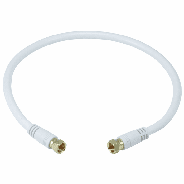 18 Inch Premium 18AWG RG6 CL2 (In-Wall) Quad Shield Gold Plated Coax Cable - White