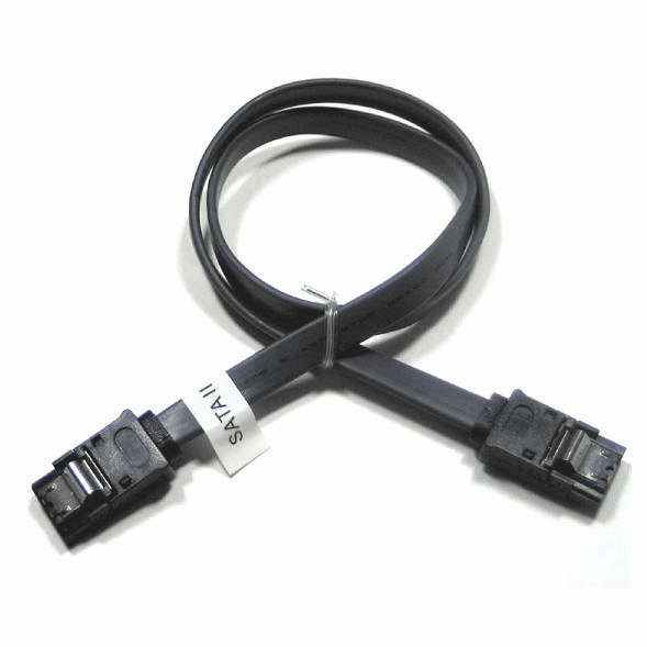 """18"""" SATA II Data Cable, Black, w/Latch, Straight on both ends"""