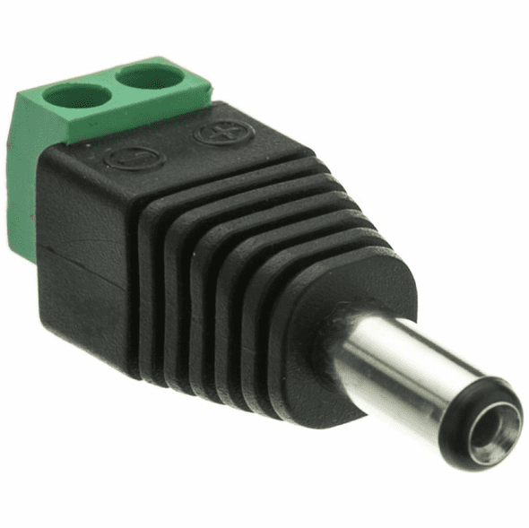 2.1mm Round Plug with Screw Terminals - Green