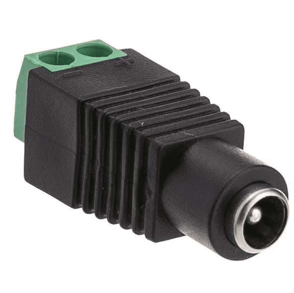 2.1mm Round Socket with Screw Terminals - Green