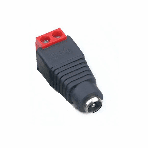 2.1mm Round Socket with Screw Terminals - Red