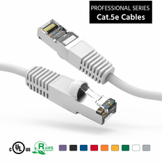 2 Foot CAT 5e Shielded ( STP) Ethernet Network Booted Cable -  White