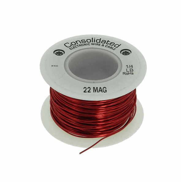 22 AWG Solid Enameled Bare Copper Magnet Wire - 1/4 lb Spool