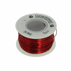 24 AWG Solid Enameled Bare Copper Magnet Wire - 1/4 lb Spool