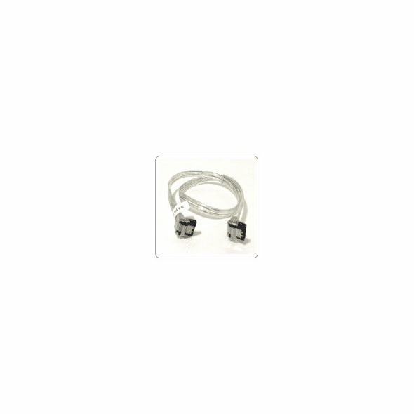"""24"""" SATA II Data Cable, Clear Silver, w/Latch, Right Angle to Right Angle"""