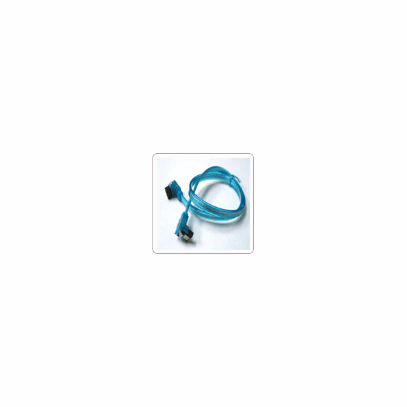 """24"""" SATA II Data Cable, UV Blue, w/Latch, Right Angle to Right Angle"""