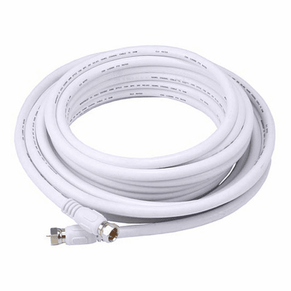 25 Foot Premium 18AWG RG6 CL2 (In-Wall) Quad Shield Gold Plated Coax Cable - White