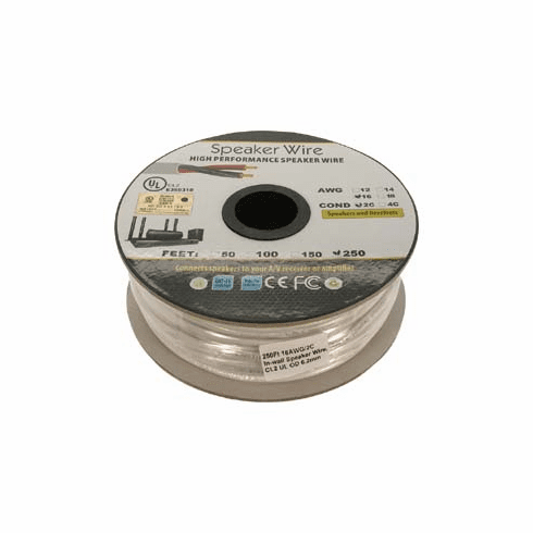 250 Foot 16AWG 2 Conductor In-wall Speaker Wire, OFC CL2 UL White Jacket