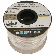 250 Foot 18AWG 2 Conductor In-wall Speaker Wire, OFC CL2 UL White Jacket