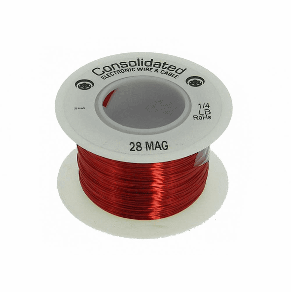 28 AWG Solid Enameled Bare Copper Magnet Wire - 1/4 lb Spool