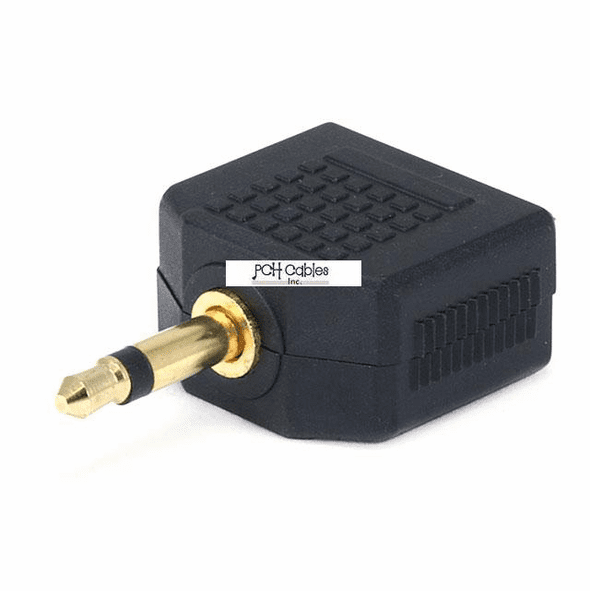 3.5mm Mono Plug to 2 x 3.5mm Stereo Jack Splitter Adaptor - Gold Plated