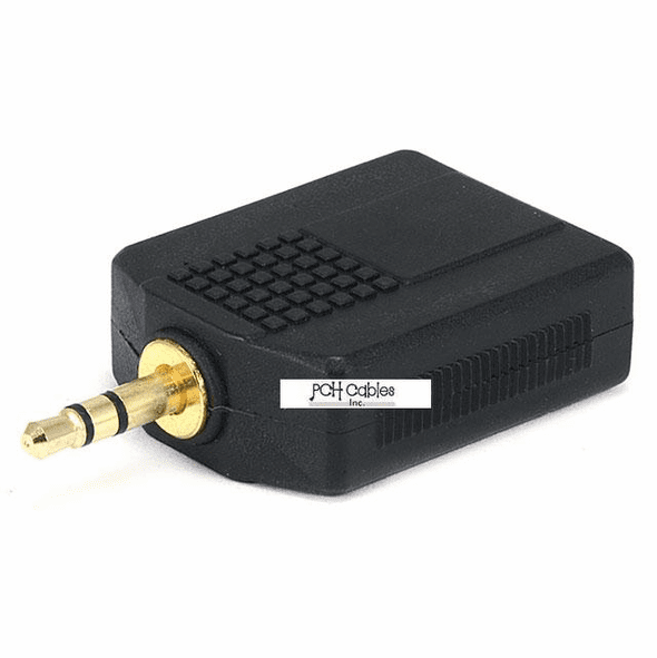 3.5mm Stereo Plug to 2 x 6.35mm (1/4 Inch) Stereo Jack Splitter Adaptor - Gold Plated