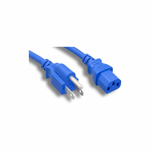 3 Foot 18AWG C13 to 5-15P 10A/125V Blue Power Cord