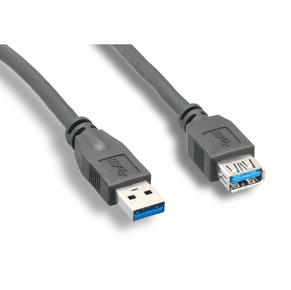 Type A Male//Type A Male 3 Foot Black USB 3.0 Cable