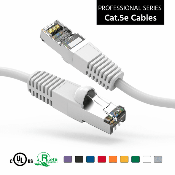 3 Foot CAT 5e Shielded ( STP) Ethernet Network Booted Cable -  White