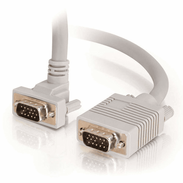 3 Foot Premium Shielded HD15 SXGA M/M Monitor Cable with 90° Downward-Angled Male Connector