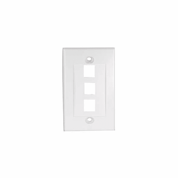 3 Port Decora Style Wall Plate for Keystone Jacks, White