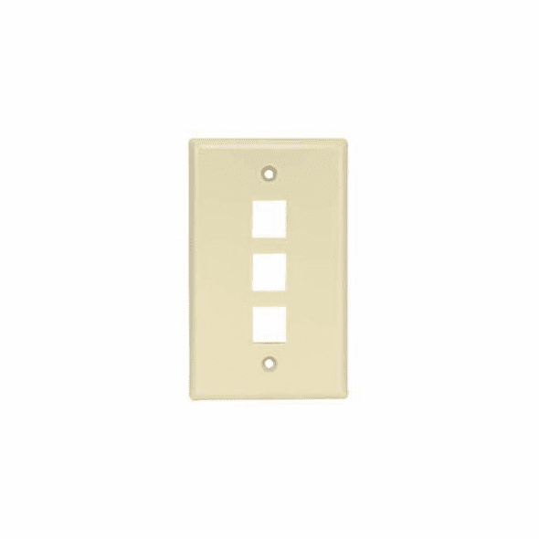 3 Port Smooth Faced Wall Plate for Keystone Jacks - Ivory