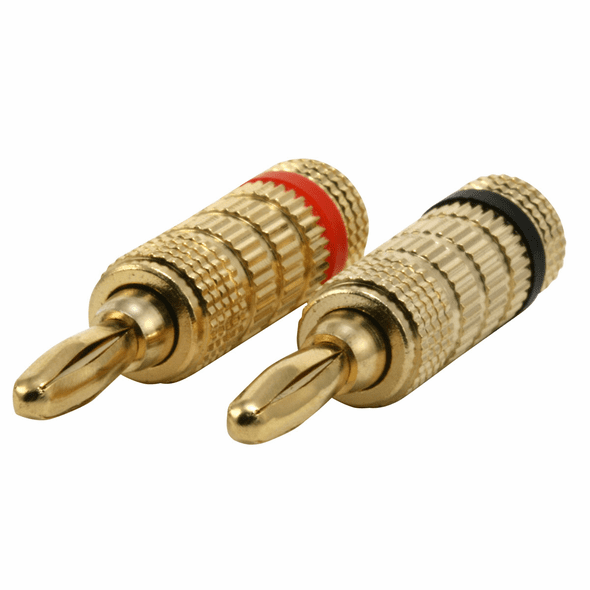 4 Pair of High Quality Gold Plated Banana Plugs, Closed Screw Type