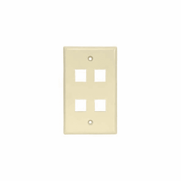4 Port Smooth Faced Wall Plate for Keystone Jacks - Ivory
