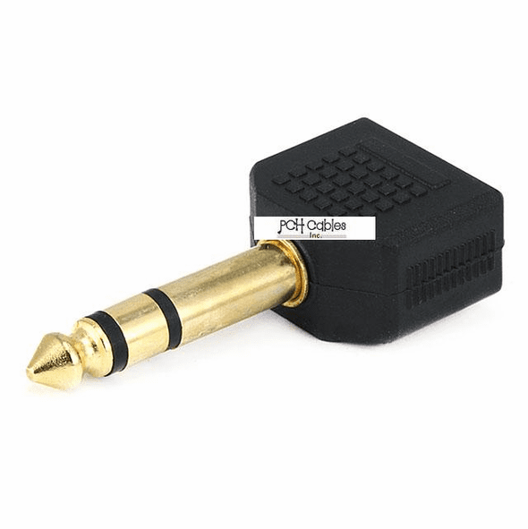 6.35mm (1/4 Inch) Stereo Plug to 2 x 3.5mm Stereo Jack Splitter Adaptor - Gold Plated