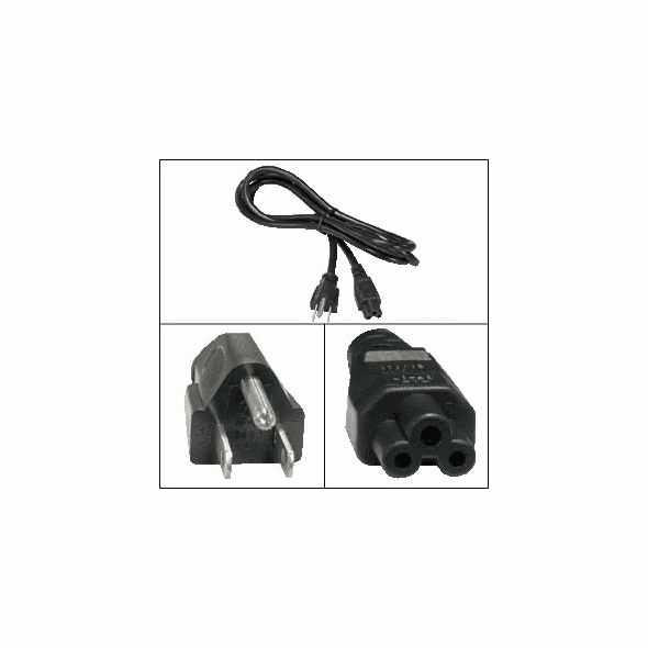 6 Foot 3 Prong Notebook Power Cord (IEC C5 to NEMA 5-15P)