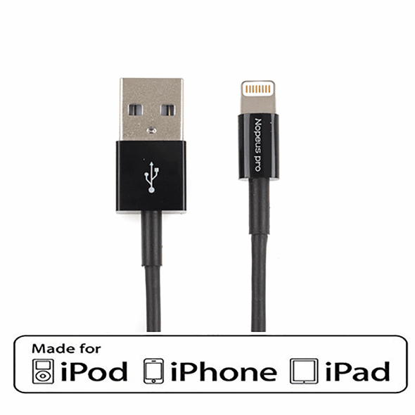 6 Foot Black Apple Certified MFi USB Type A to Lightning Charging Cable