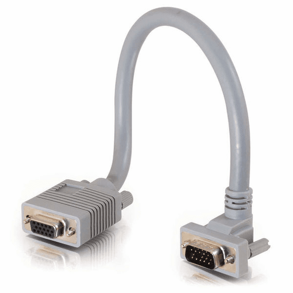 6 Foot Premium Shielded HD15 SXGA M/F Monitor Extension Cable with 90° Downward-Angled Male Connector