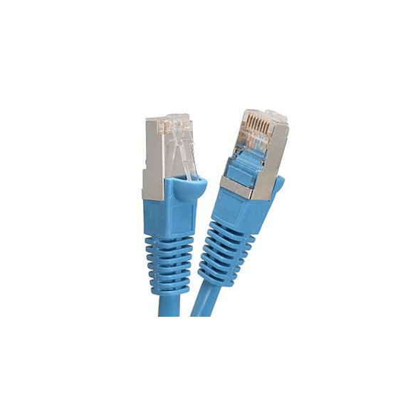 6 Inch Blue Cat6 600MHz Shielded (SSTP) Ethernet Network Cable - Ships from California
