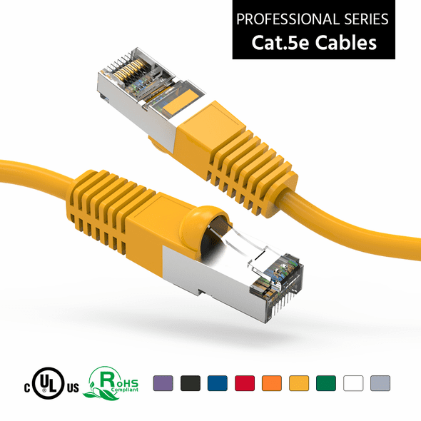 6 Inch CAT 5e Shielded ( STP) Ethernet Network Booted Cable -  Yellow - Ships from Vendor