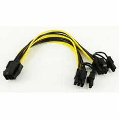 6 Pin to Dual 6+2 Pin PCI Express Power Splitter Cable, 20cm