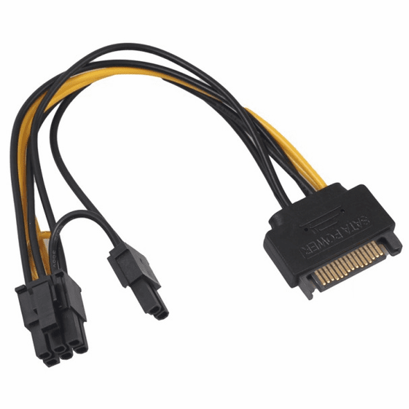 "7"" Sata 15-Pin Power to 6+2 Pin PCI-E Power Adapter Cable"