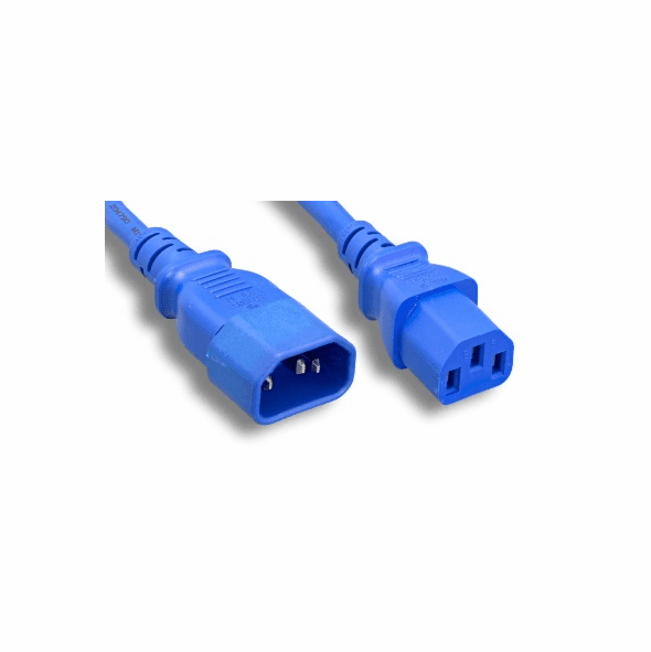 8 Foot 18 AWG Power Cable, IEC320 C13 to C14, 250V - Blue