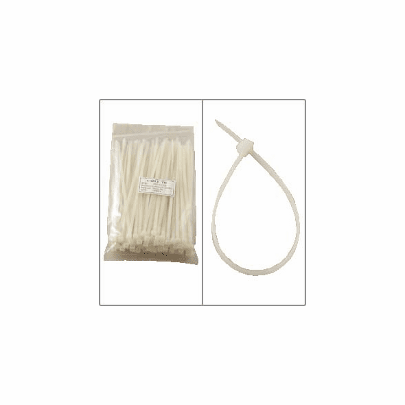 8 Inch Clear Nylon Cable Ties - 100 Pack