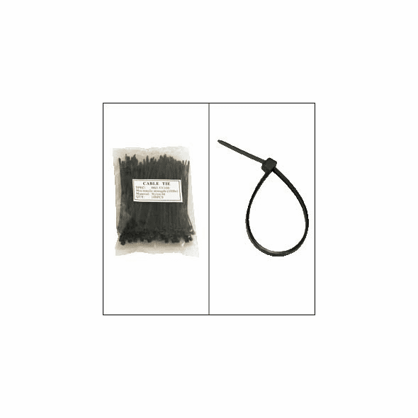 """Bag of 100 4"""" Black Cable Ties"""