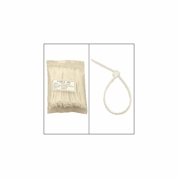 """Bag of 100 4"""" Clear Cable Ties"""