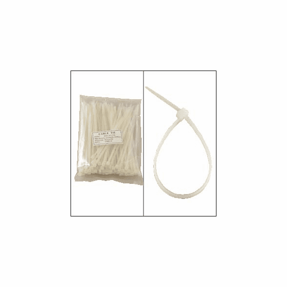 "Bag of 100 6"" Clear Cable Ties"
