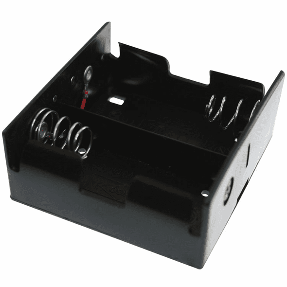 Battery Holder / Open Type for 2 D Battery with 6 inch 24AWG Lead (Side By Side)