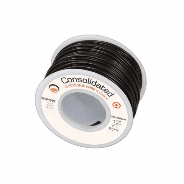 Black 25 Foot 20 AWG stranded hook-up wire