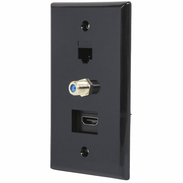 Black Recessed HDMI Wall Plate, with HDMI, CAT5e and Coax Connector