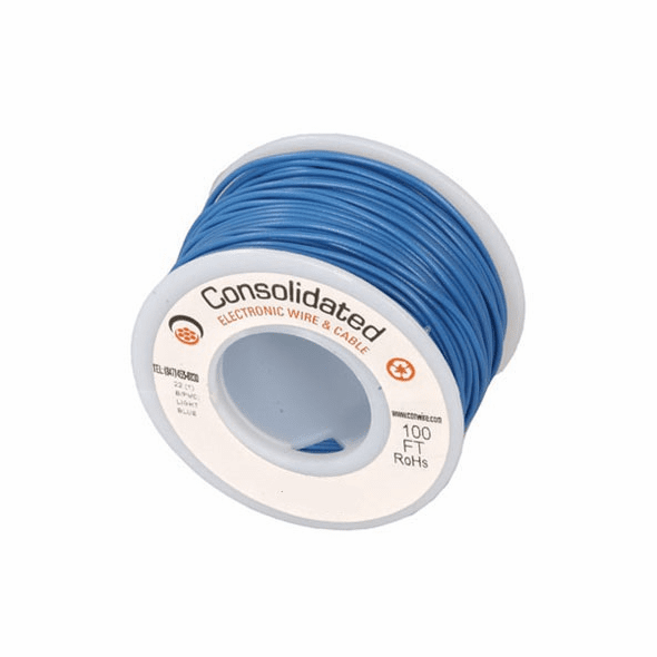 Blue 25 Foot 26 AWG stranded hook-up wire