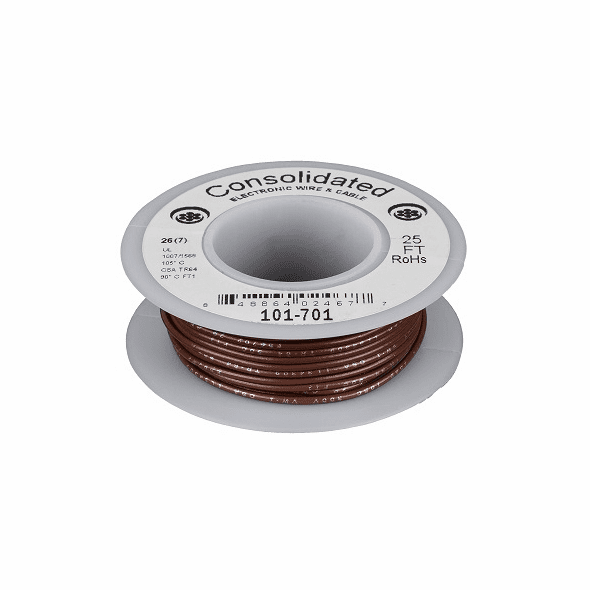 Brown 25 Foot 22 AWG stranded hook-up wire